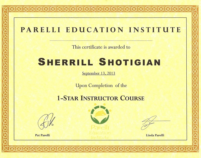 Sherrill Shotigian's 1-Star Instructor Parelli Certification